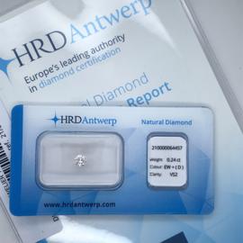 HRD Diamant - 0.24 ct. - briljant - EW + (D) / VS2