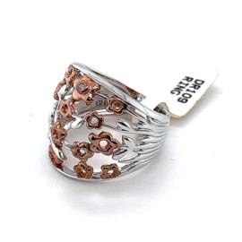 Nieuwe zilveren ring met rosé bloemetjes