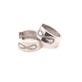 Zilveren klapcreolen met infinity zirkonia