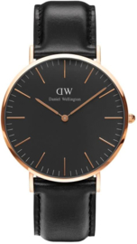 Daniel Wellington DW00100127 Classic Black Sheffield - Horloge - Leer - Zwart - Ø 40 mm
