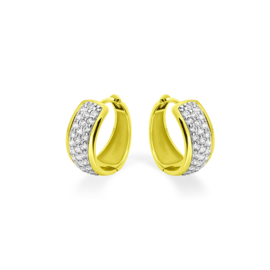 AG925 Zilveren oorbellen pave Zirkonia  goud verguld zirkonia