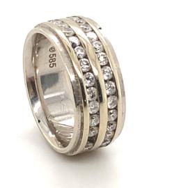 Occasion dubbele witgouden rij ring met diamant 1,78ct SI-H