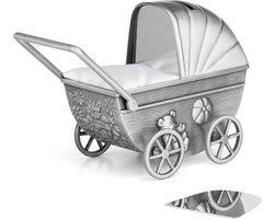 Zilverstad Spaarpot Kinderwagen met graveerplaat Mat
