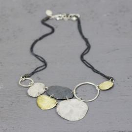 Jeh Jewels 20034 - Collier zilver - oxy + zilver verguld ronde driehoek