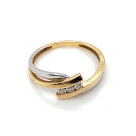 Occasion bicolor ring met 3 diamantjes 0.045ct