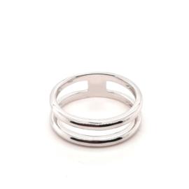Zilveren brede open ring