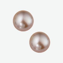 Zilveren oorknoppen roze parel