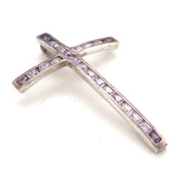 Occasion zilveren kruis met paarse zirkonia's
