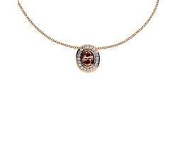 Diamonfire - Zilveren collier met hanger 45 cm - Rosegoudverguld - Ovale bruine steen