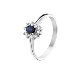 Ring saffier en diamant 0.08 ct.