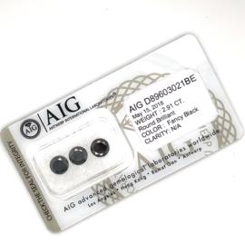 AIG zwarte diamant briljant geslepen 2.91 ct