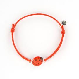 Zilveren Cord Bracelet Ladybug