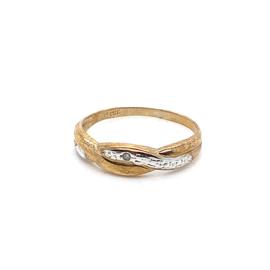 Occasion bicolor ring met 1 kleine zirkonia