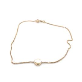 Occasion gouden fijne armband met rondje