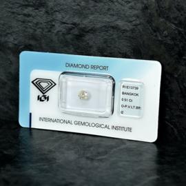 Diamond - 0.51 ct - Brilliant - O-P,Very Light Brown - I2 -