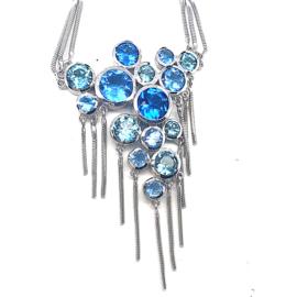 Nieuw zilveren collier Millefiori met blauwe zirkonia