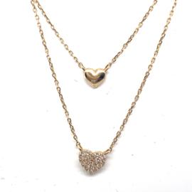 Gouden dubbel collier met 2 hartjes