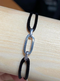 Zilver rho./ru/ny/le armbanden dames en heren poli/fantasie -zwart