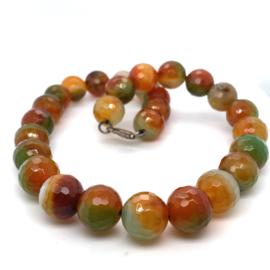 Occasion groen oranje agaat edelstenen collier