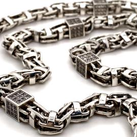 Monaco zilveren heren collier