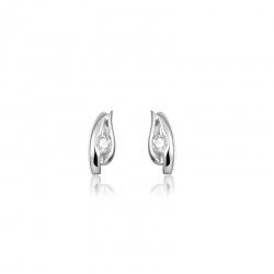Zilveren oorknop oorsteker zirkonia