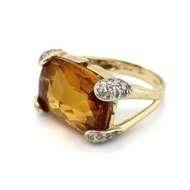 Occasion geelgouden ring met citrien en diamant