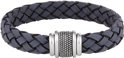 Dash Armband Blauw Leer 12 mm 21 cm - Staal