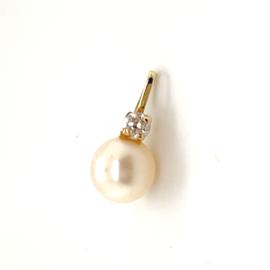 Occasion hanger met parel en diamant 0.06ct SI-F