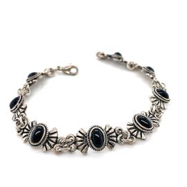 Occasion zilveren strikjes armband met onyx