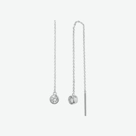 Zilveren doortrekoorbellen zirkonia