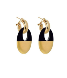 AMJOYA Earrings Buffelhorn Black/Gold