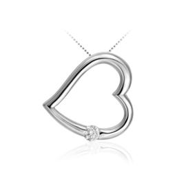 AG925 Zilveren hanger in hartvorm met zirkonia