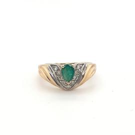 Geelgouden ring met smaragd en briljant