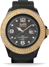 Tutti Milano TM004NO-RO-Z-Horloge - 48 mm - Zwart - Collectie Cristallo