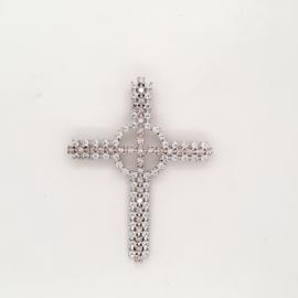 Occasion zilveren kruis met witte en gouden zirkonia's