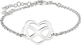 The Fashion Jewelry Collection Armband Hart En Infinity 17 + 2 cm - Zilver