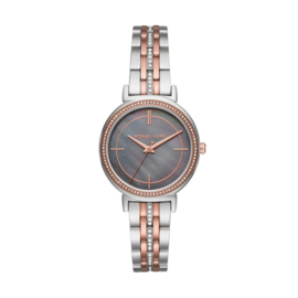 Michael Kors - Dames horloge Cinthia MK3642 - 33 mm - zilver- en rosékleurig