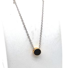 Zilveren collier met goudkleurige hanger