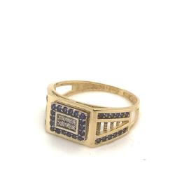 Occasion geelgouden heren ring met saffier en diamant 0.06ct