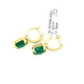 Monzario Oorbellen Colori groene agaat