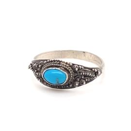 Zilveren ring vintage turkoois