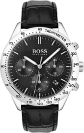 Hugo Boss HB1513579 Talent Horloge - Leer - Zwart - Ø 42 mm