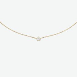 Geelgouden collier zirkonia 0,8 mm 40 + 4 cm