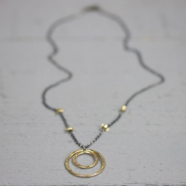Jeh Jewels 20069 - Collier zilver oxy met goldfilled druppel