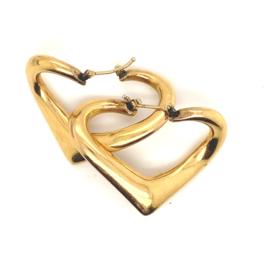 Geelgouden occasion hart oorbellen
