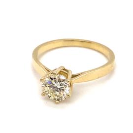 Occasion geelgouden solitair ring met diamant 1.25ct SI1-P/R