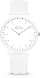 Colori Essentials 5 Horloge - Siliconen Band - Ø 40 mm - Wit