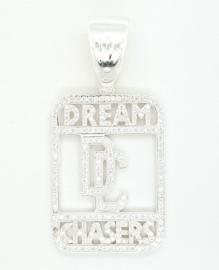 Zilveren hanger Dream Chasers vol bezet met zirkonia's