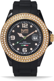 Tutti Milano TM003NO-RO-Z- Horloge - 42.5 mm - Zwart - Collectie Cristallo