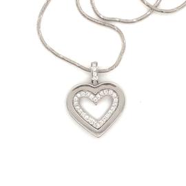 Occasion witgouden open hart hanger met diamant 0.145ct SI-F